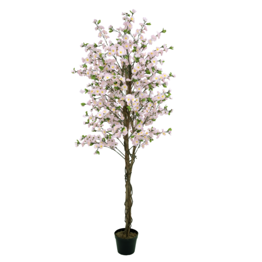 EUROPALMS Cherry tree with 4 trunks, artificial plant, pink, 180 cm